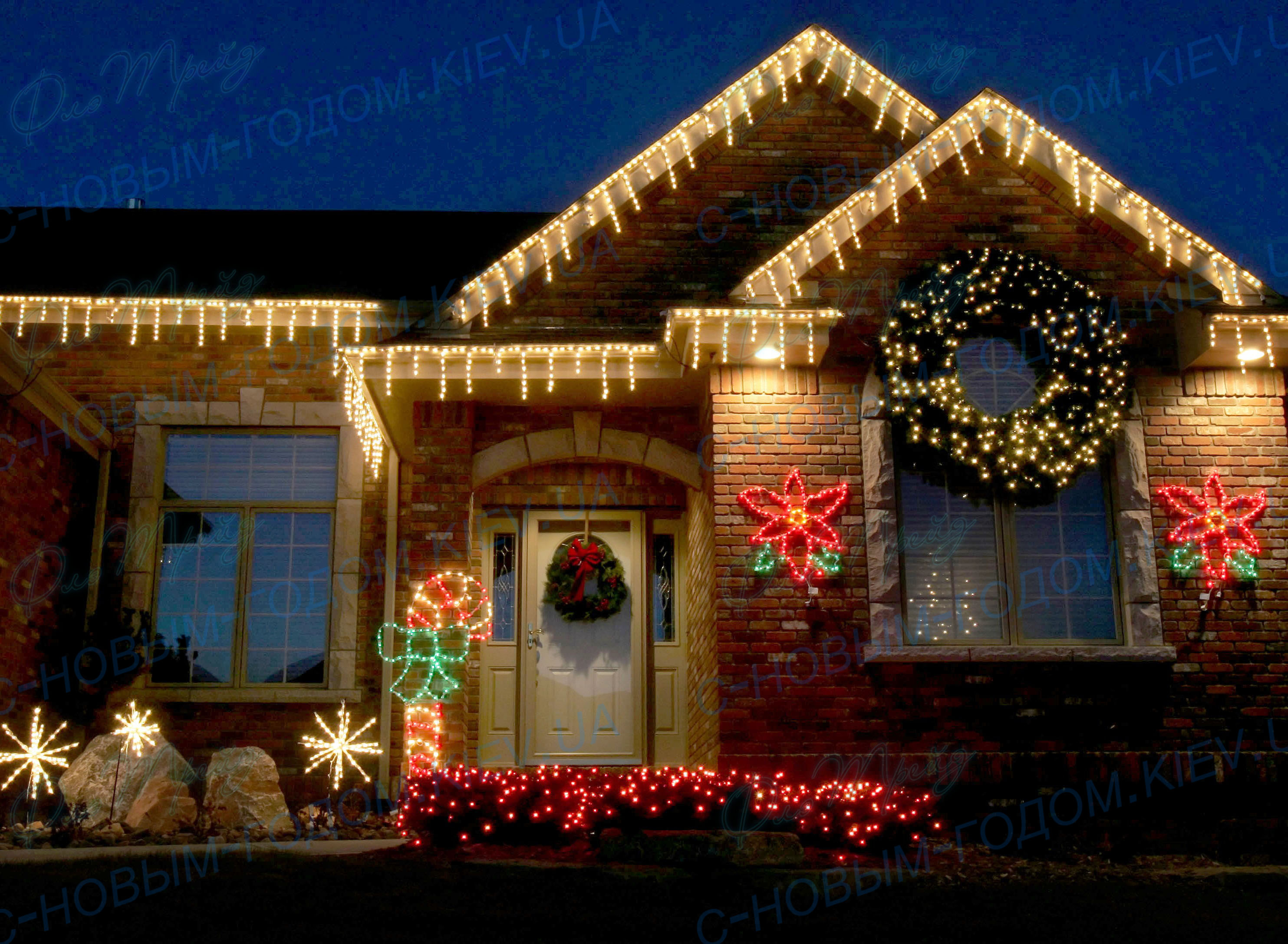Как украсить фасад дома на новый год